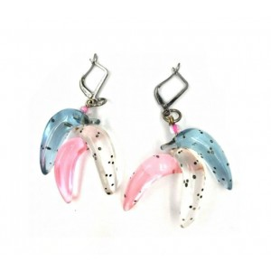 Boucles d'oreilles Banana Bleu-Rose-Blanc