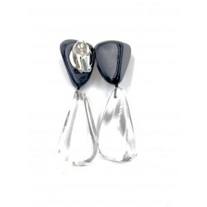 Boucles d'oreilles Cusco Noir Opaque & Cristal Transparent
