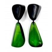 Boucles d'oreilles CUSCO Noir Opaque & Vert Transparent