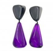 Boucles d'oreilles Cusco Noir Opaque & Violet Transparent