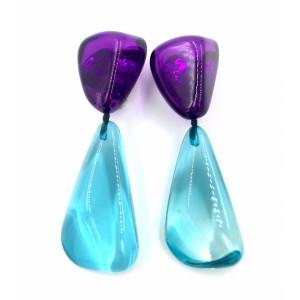 Boucles d'oreilles Cusco Violet & Bleu Clair Transparent