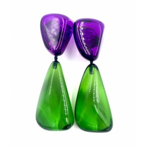 Boucles d'oreilles Cusco Violet & Vert Emeraude Transparent