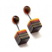 Boucles d'oreilles Cubo Pop Roux