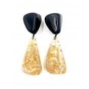 Boucles d'oreilles Cusco Noir Opaque & Or Metallique