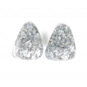 Boucles d'oreilles Clip Diamantes Argent Métallique & Cristal
