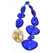 Collier Encanto Bleu Royale Transparent & Or