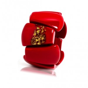 Bracelet Rilma Rouge Opaque & Or