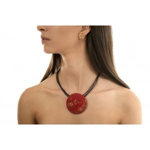 Collier Orlando Or & Rouge Opaque