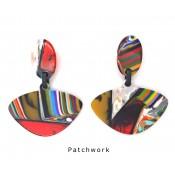 Boucles d'oreilles Clip Alinhavado Patchwork