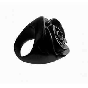Bague Rose Noir Opaque