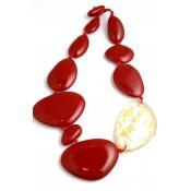 Collier Encanto Rouge Opaque & Or